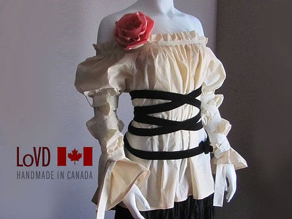 Peasant Blouse Pirate Shirt Renaissance Clothes by LoVDdesign, $85.00