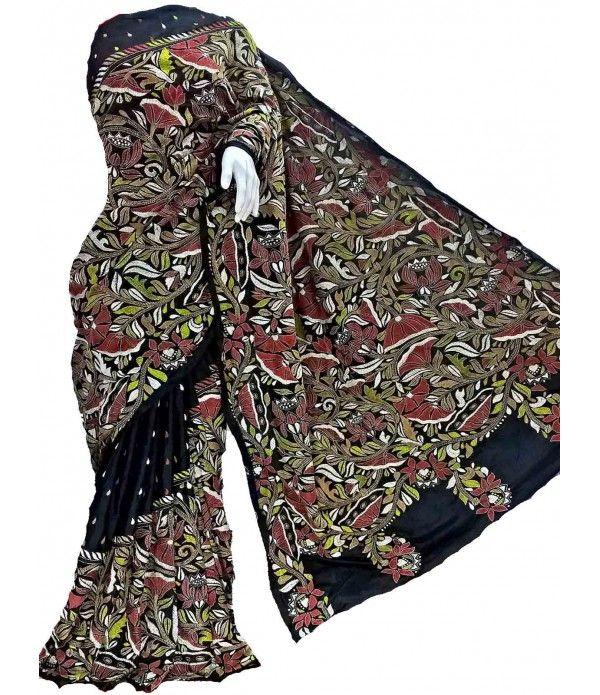 Black Kantha Work Silk Stitch Designer Saree