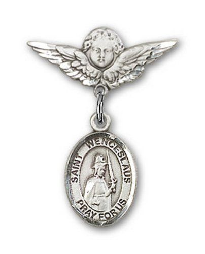 IceCarats Designer Jewelry Sterling Silver St Wenceslaus Charm Angel Badge Pin 78 X 34 -- Read more  at the image link.