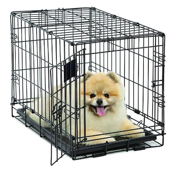 Folding Dog Crate Durable Cage Pet Kennel Single Door 22Inch w/Divider Plastic #MidWestHomesforPets