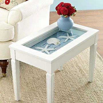 diy beach curio table  Would be cool with the sand dollar and sea star story in it too!