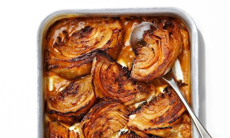 Yotam Ottolenghi's braised cabbage with miso recipe. Photograph: Johanna Parkin for the Guardian. Food styling: Maud Eden.