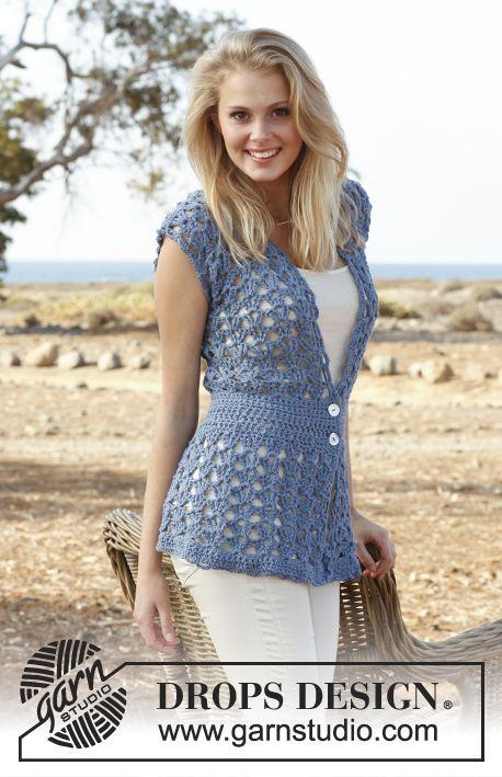 Crochet DROPS vest with fan pattern in Paris. Size S-XXXL. Free pattern by DROPS Design.