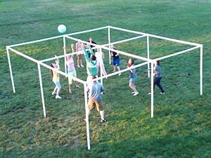 Volley 4 Square, made with PVC pipe! http://@Alison Hobbs Hobbs Hobbs Hobbs P Youth-group game in the future?