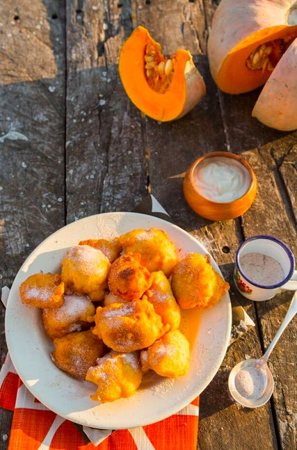 Pumpkin Fritters with Sweet Ginger Yoghurt