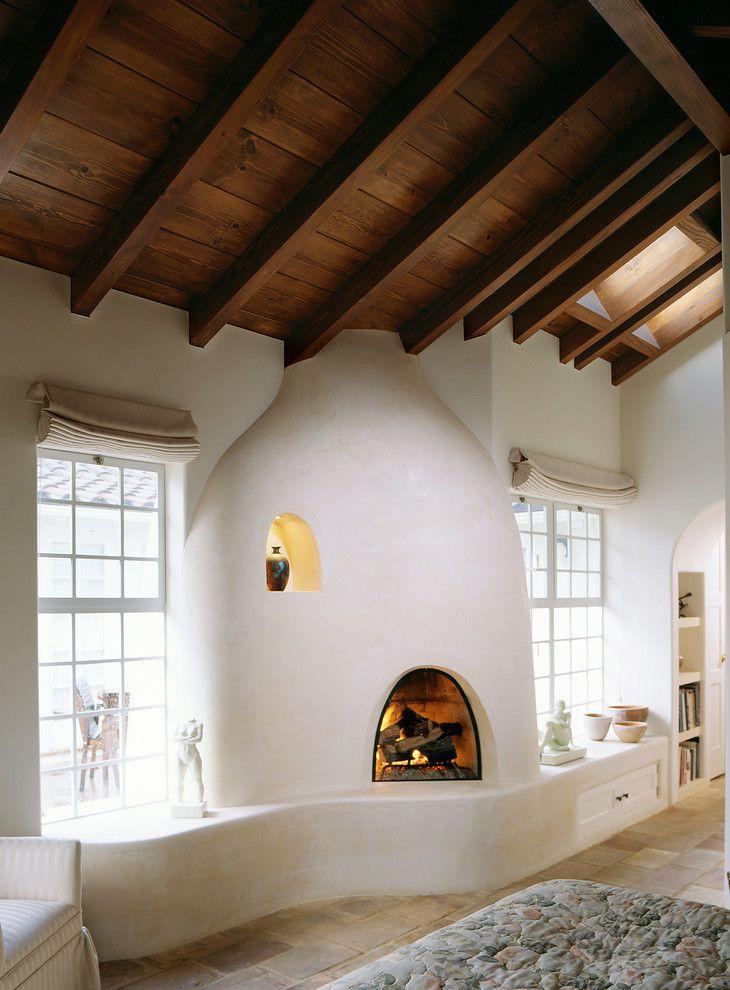 Lovely Southwestern Fireplaces #10: Artist Studio - Zak Johnson Architects Interior Design Living Room Adobe  Whitewash Spanish Southwestern Fireplace Niche