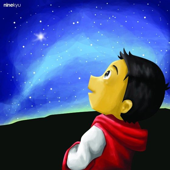 #night #sky #star #boy #illustration #ninekyu
