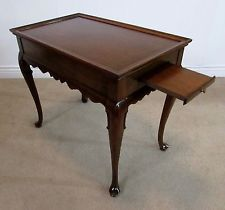 ETHAN ALLEN GEORGIAN COURT CHERRY QUEEN ANNE TEA TABLE, PULL OUT TRAYS 11-8204