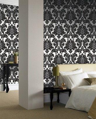 Black damask wallpaper