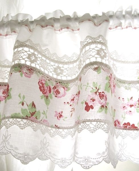 Pretty curtain idea from scrap frabric and lace