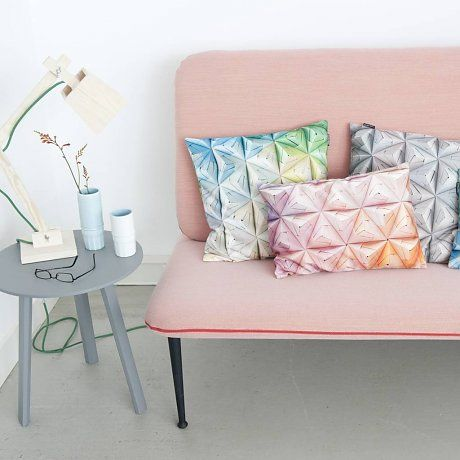 Snurk Beddengoed Sierkussen hoes Geogami roze/ oranje, 50x50cm