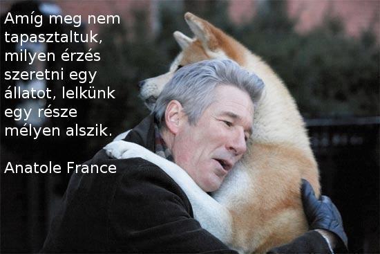 Anatole France gondolata az állatok szeretetéről. A kép forrása: Egészség, Vidámság, Szeretet