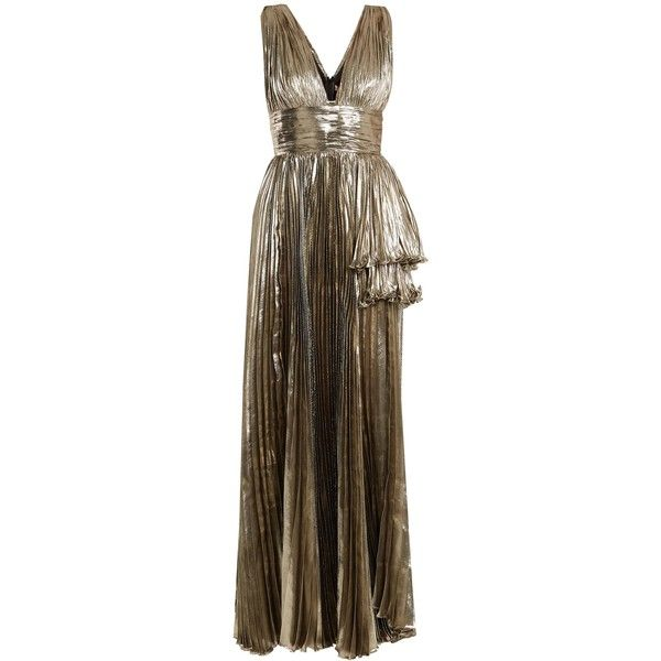 Maria Lucia Hohan Briella pleated lamé gown ($1,915) ❤ liked on Polyvore featuring dresses, gowns, silver, tiered dresses, brown evening dress, pleated gown, brown evening gowns and pleated dress