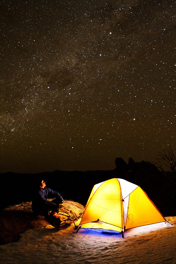 "500px / Photo ""Starry Night"" by Matt de Waard - Self portrait. One exposure, tent lit by a headlamp inside."