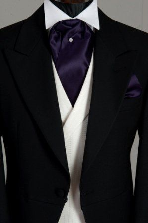 Black wedding suit with purple cravat(white waistcoat) #goth wedding ... Wedding ideas for brides & bridesmaids, grooms & groomsmen, parents & planners ... https://itunes.apple.com/us/app/the-gold-wedding-planner/id498112599?ls=1=8 … plus how to organise an entire wedding, without overspending ♥ The Gold Wedding Planner iPhone App ♥
