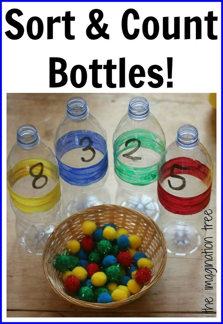 Sorting and counting bottles for math and fine motor play. From The Imagination Tree.