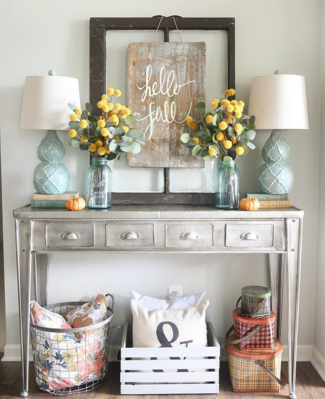 i wanted to switch things up in the living room for fall so i took - Console Table Decor