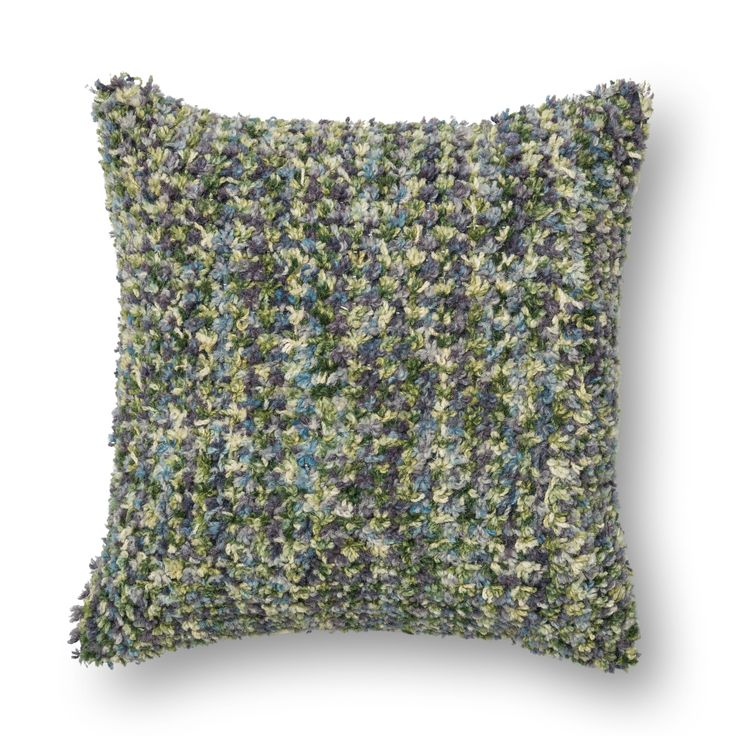Domain Feather Filled Decorative Pillow : Woven Multi Green/ Plum Shag Feather and Down Filled or Polyester Filled 18-inch Throw Pillow or ...