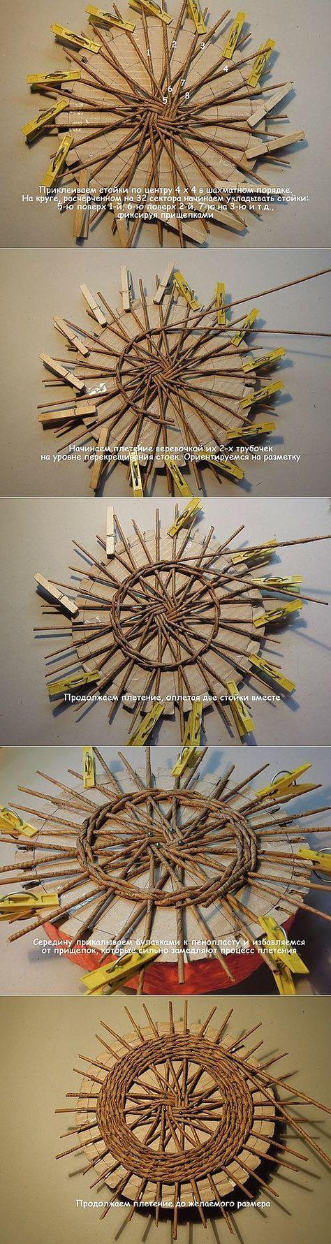 Урок плетения крышки для корзиночки - ДЕКУПАЖ и ПЛЕТЕНИЕ из бумаги | Плетение из газет | Постила