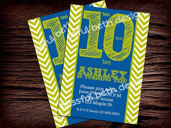 Chevron Birthday Invitation by BlissfulBethDesigns on Etsy, $11.00