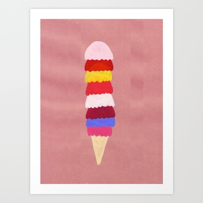 I scream, you scream, we all scream for ice cream Art Print by cat-insch - $18.00
