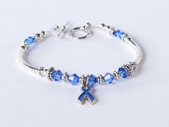 Colon Cancer Cancer Awareness Bracelet: 9 Swarovski Crystal Dark Blue Ribbon Bracelet, Arthritis, Rectal Cancer Awareness