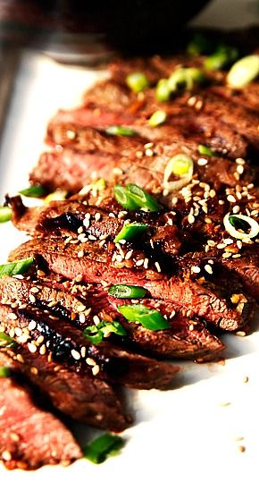 Asian Inspired Flat Iron Steak with Honey, Garlic, and Ginger