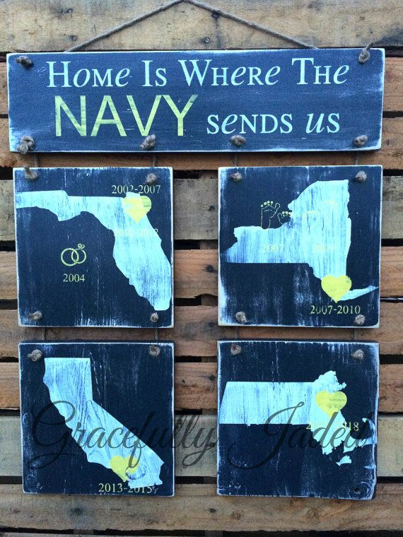 This Custom Home is where the military sends us duty station sign is a great gift for any military family! Customize with the colors of your