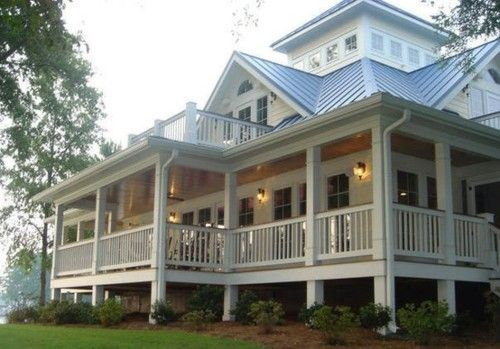 Southern Charm - tin roof, wrap around porch, balcony. perfect awesome porch. love everything but the roof