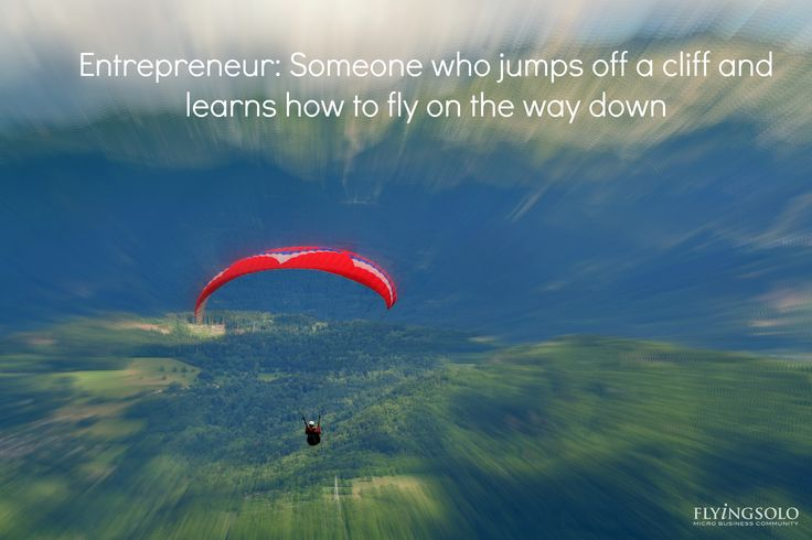 Entrepreneur: Someone who jumps off a cliff and learns how to fly on the way down