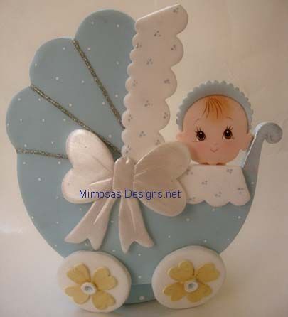 baby blue baby carriage diaper cake | Baby Carriages