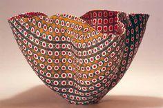 """Four Lobed Bowl // Murrines de verre fusionnées et thermoformées, 13.5 x 26 x 16.5cm / Fused and slumped glass murrine, 5.25"""" x 10"""" x 6.5"""""""