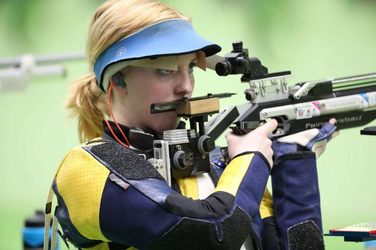 Ginny Thrasher of the United States readies herself to shot during the 10-meter air rifle qualification at Olympic Shooting Centre. Thrasher won gold in the event.