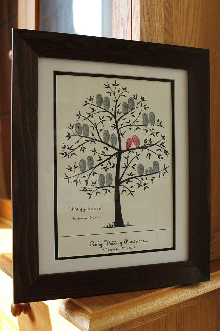 Ruby Wedding Anniversary Fingerprint Tree for Mum and Dad