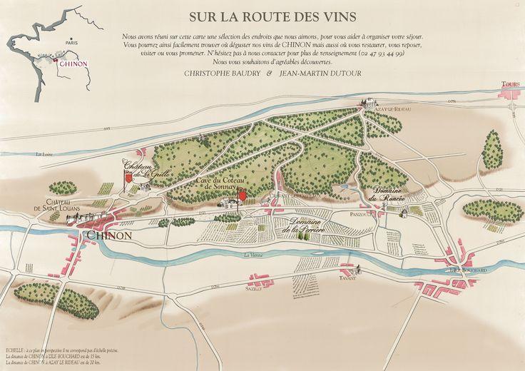 Carte à l'ancienne de la région viticole de Chinon en Touraine