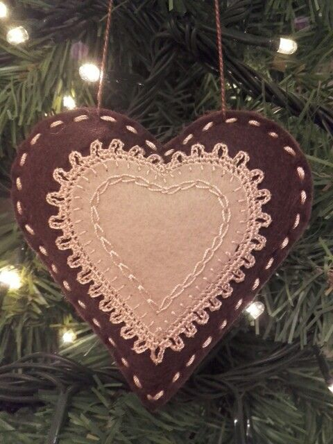 Felt gingerbread heart, christmas ornament.
