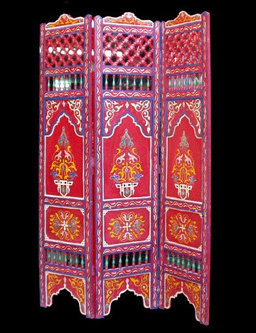 Hand Painted Moroccan Folding Screen For The Home