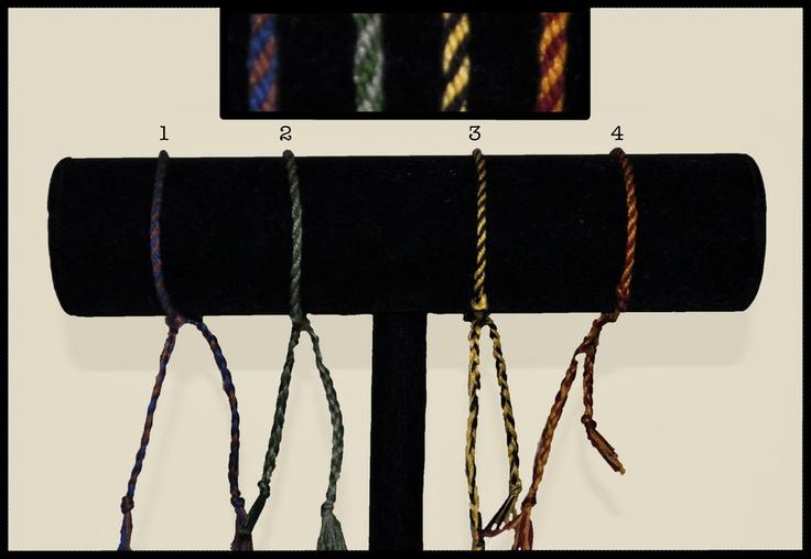 Hogwarts House Bracelets: Kumihimo Adjustable    Individual Bracelet Price: $3.50  Total Price for Set: $12    1.) Ravenclaw  2.) Slytherin  3.) Hufflepuff  4.) Gryffindor