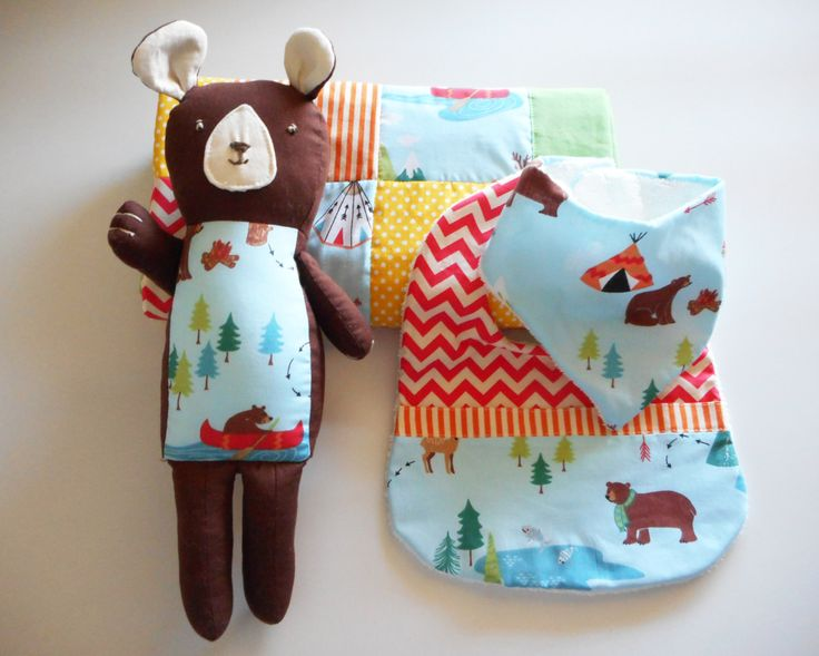 Pram Quilt, Soft Toy and Bibs Set- Brown bear with red chevron and woodland print bibs by TheLullabyeGallery on Etsy