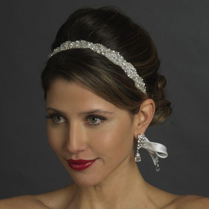 Crystal  Pearl Bridal White Ribbon Headband Headpiece