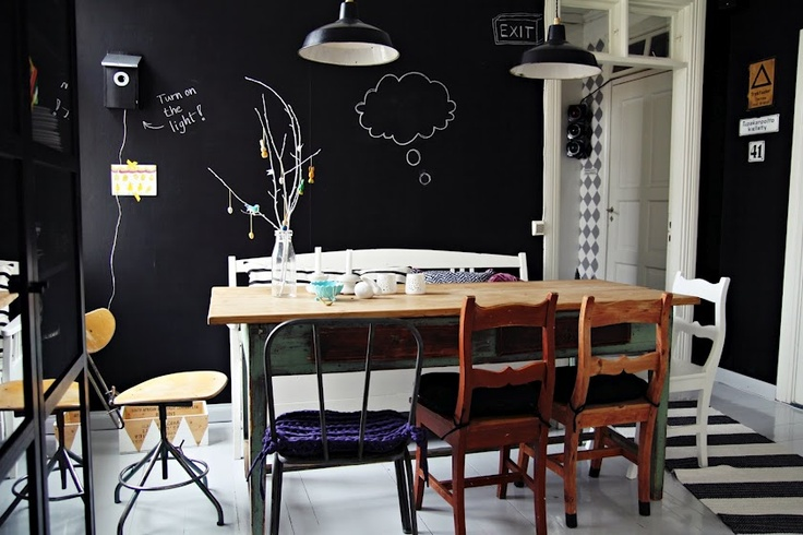 my 2nd hand life: Dining Rooms, Kitchens Wall, Dining Chairs, Chalkboards Paintings, Kitchens Tables, Chalk Boards, Blackboard Paintings, Chalkboards Wall, Black Wall