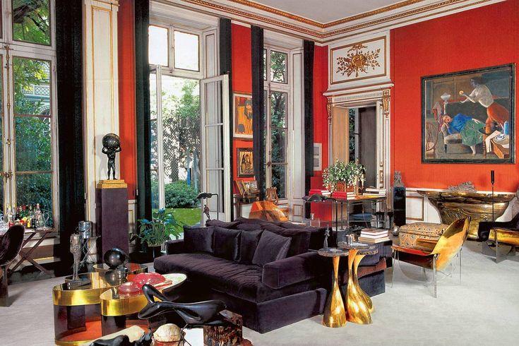 The circa 1976 Paris living room of designer Henri Samuel.