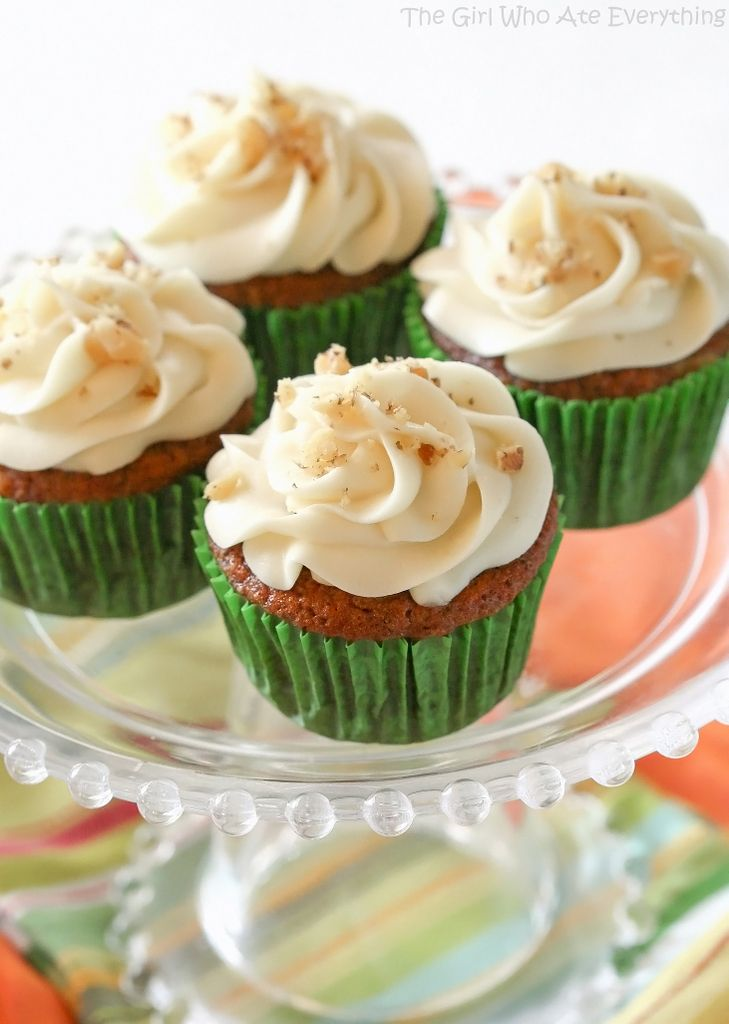 Carrot Cake Cupcakes with White Chocolate Cream Cheese Frosting - the-girl-who-ate-everything.com