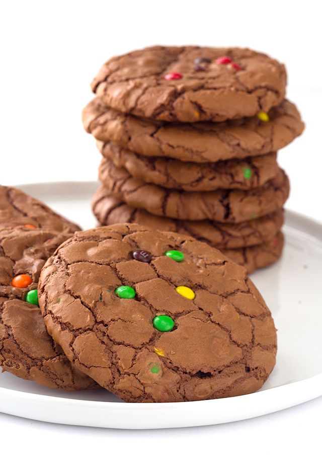 Brownie Cookies - rich chocolate cookies loaded with semi-sweet chocolate chips with a shiny crinkled brownie top and m&m's