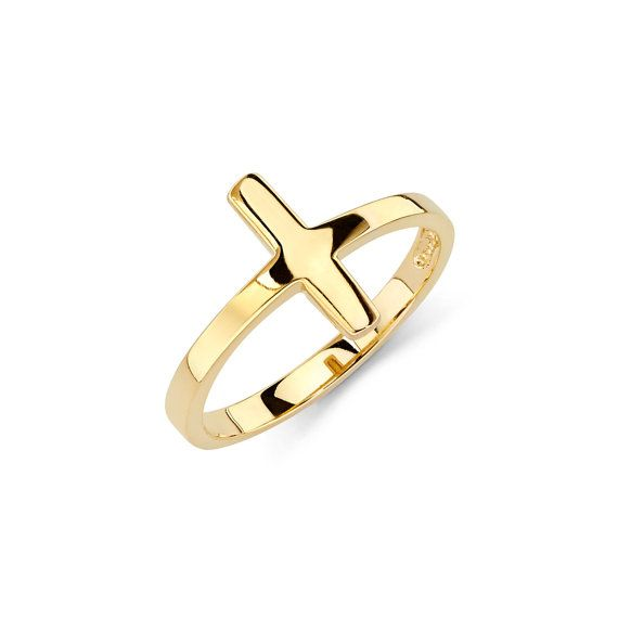 14K Gold Sideways Cross Ring, Sideways Cross, Sideways Cross Ring, Cross Jewelry, Cross Ring, Gold Cross, Gold Ring, Sideways, Cross