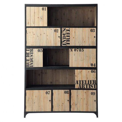 Zwarte metalen boekenkast B 130 cm