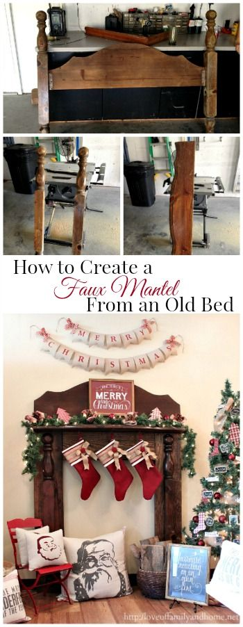 How to create a DIY Faux Fireplace Mantel using pieces from an old bed.