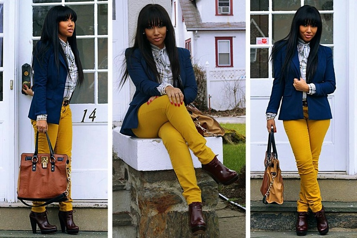 Navy Blazer And Mustard Yellow Pants | Outfits And Such | Pinterest | Mustard Yellow Pants ...