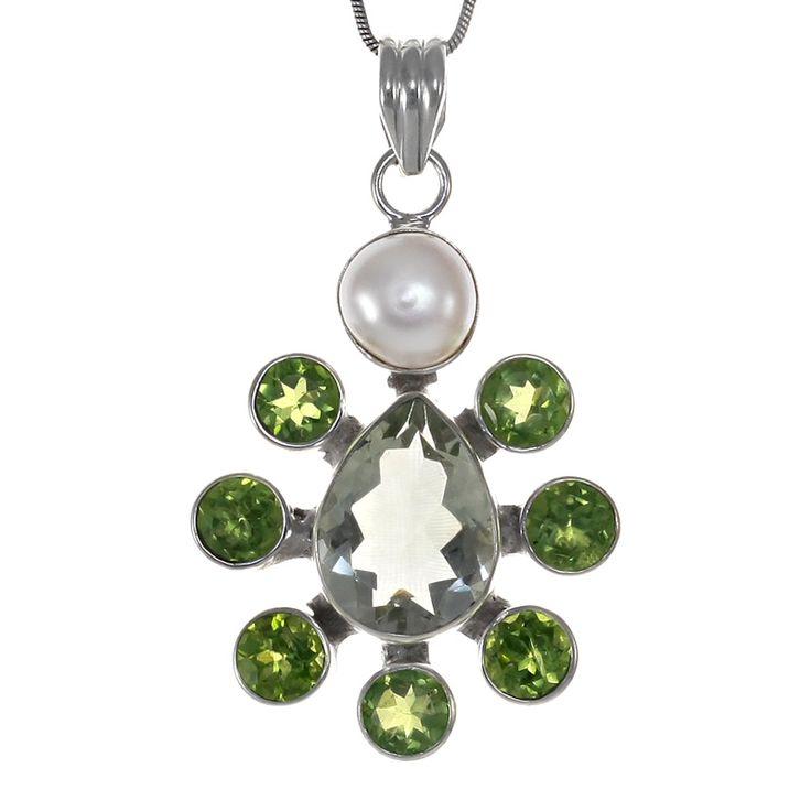 Сребърен медальон с празиолит, перидоти и перла   Tezzor.com