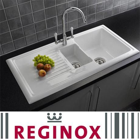 Reginox - Traditional White Ceramic 1.5 Kitchen Sink and Elbe Mixer Tap - RL301-ELBE